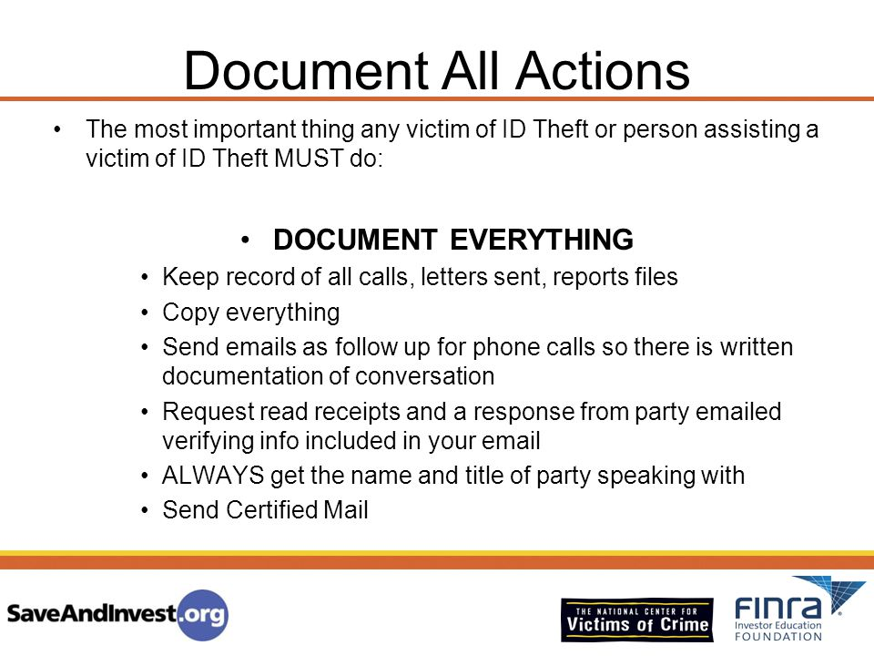 Document All Actions DOCUMENT EVERYTHING