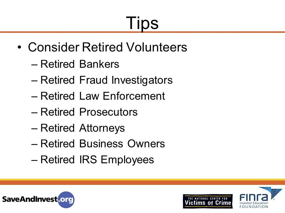 Tips Consider Retired Volunteers Retired Bankers