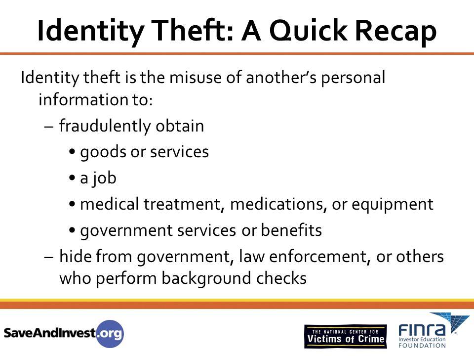 Identity Theft: A Quick Recap