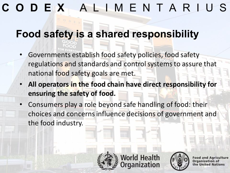 C O D E X A L I M E N T A R I U S Food safety is a shared responsibility.