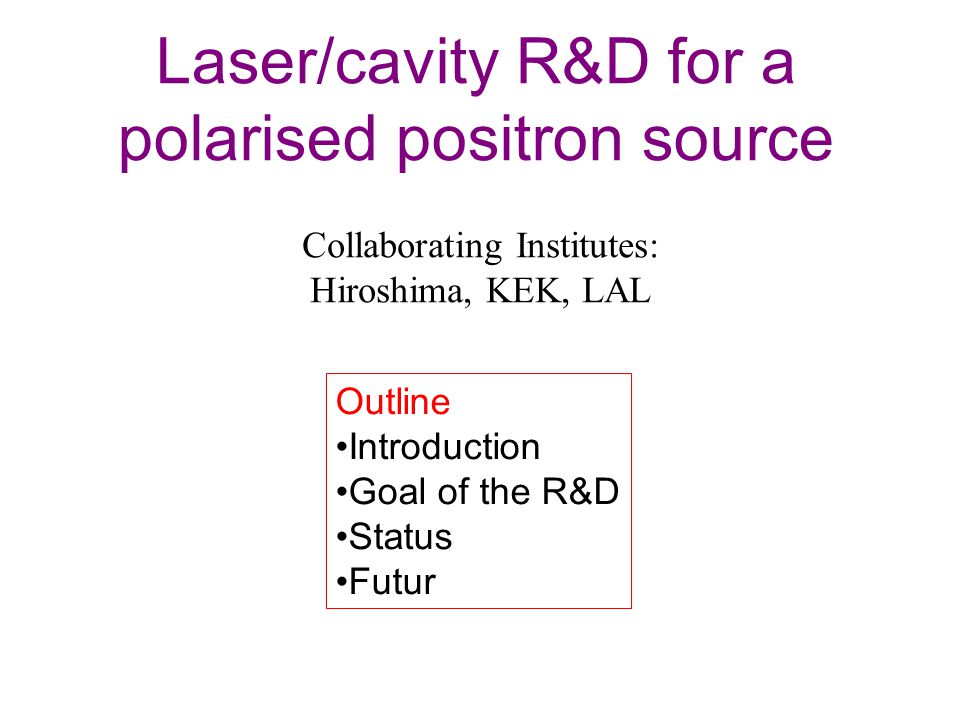 Laser/cavity R&D for a polarised positron source