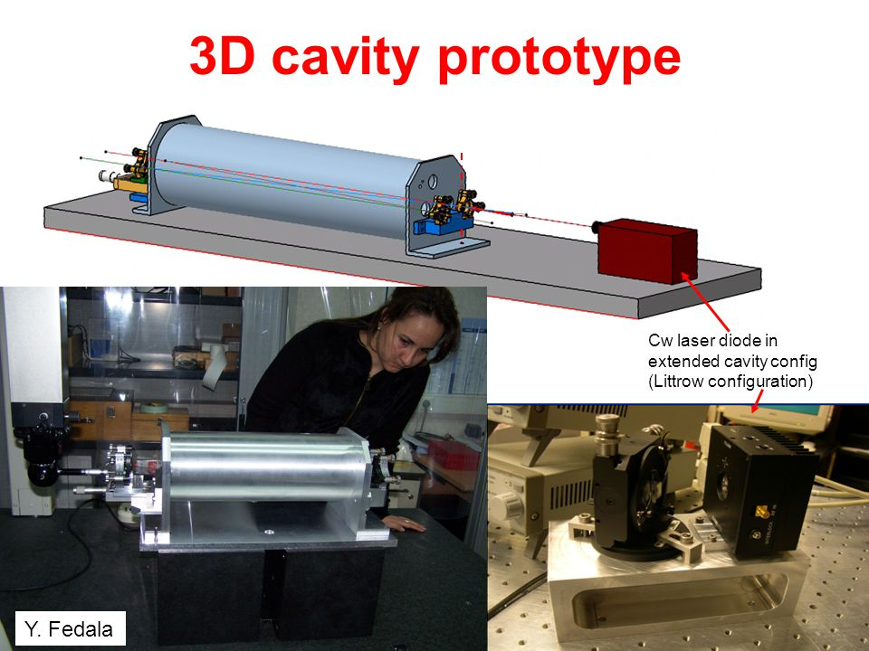 3D cavity prototype Y. Fedala Cw laser diode in extended cavity config