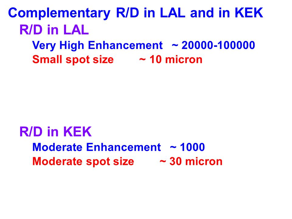 Complementary R/D in LAL and in KEK R/D in LAL
