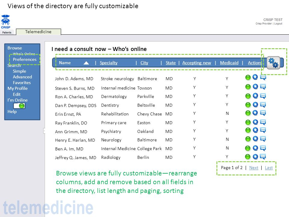 Views of the directory are fully customizable