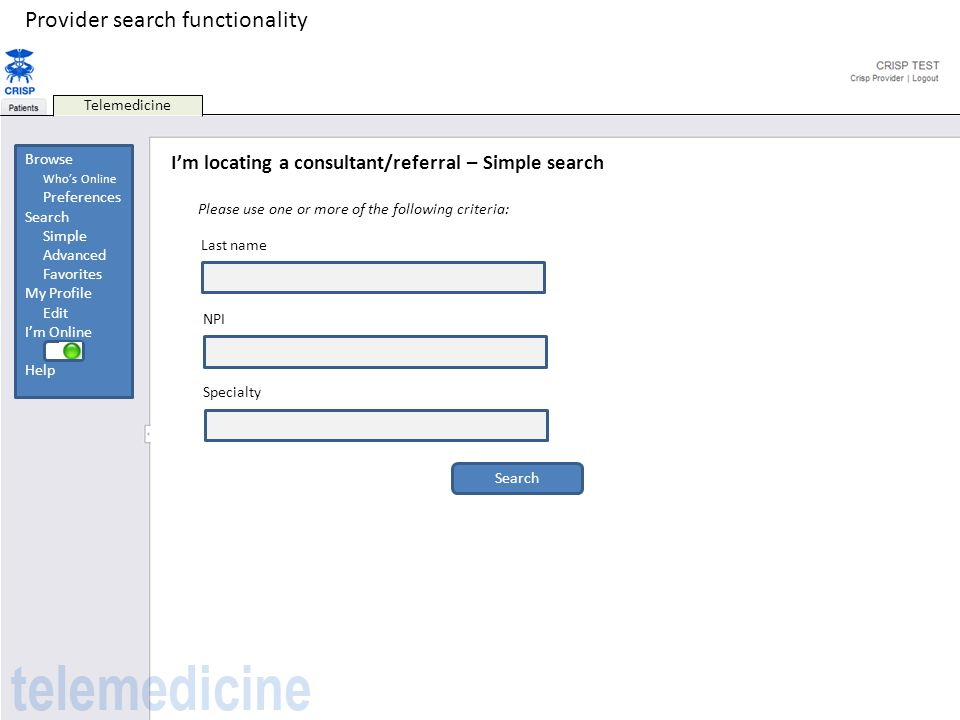 Provider search functionality