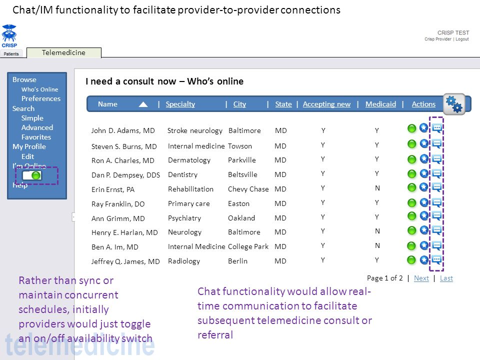 Chat/IM functionality to facilitate provider-to-provider connections
