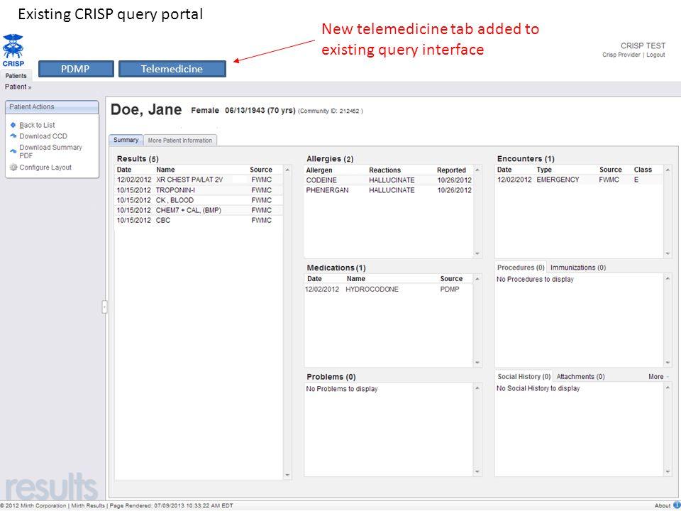Existing CRISP query portal