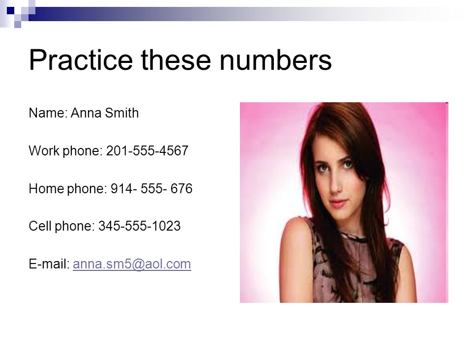 Practice these numbers