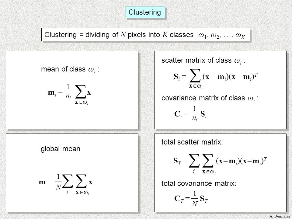Clustering = dividing of N pixels into K classes ω1, ω2, …, ωK