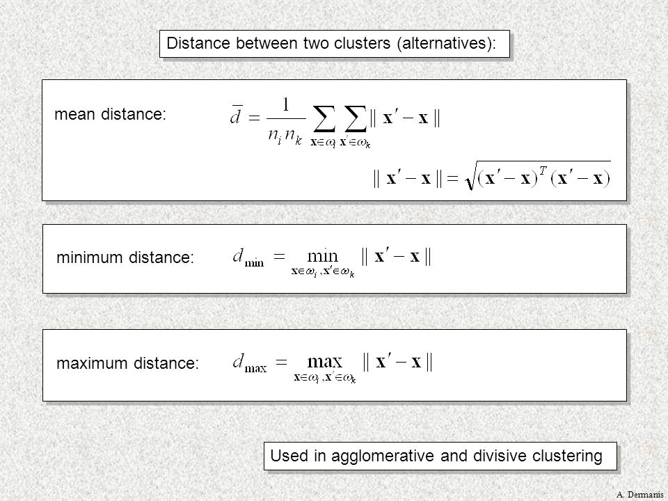 Distance between two clusters (alternatives):