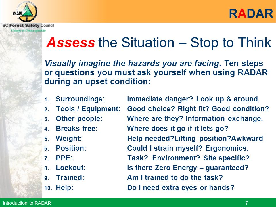 Assess the Situation – Stop to Think
