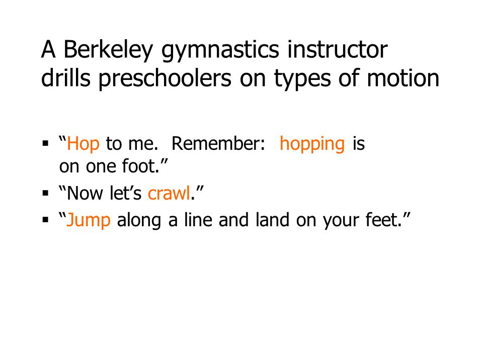 A Berkeley gymnastics instructor drills preschoolers on types of motion