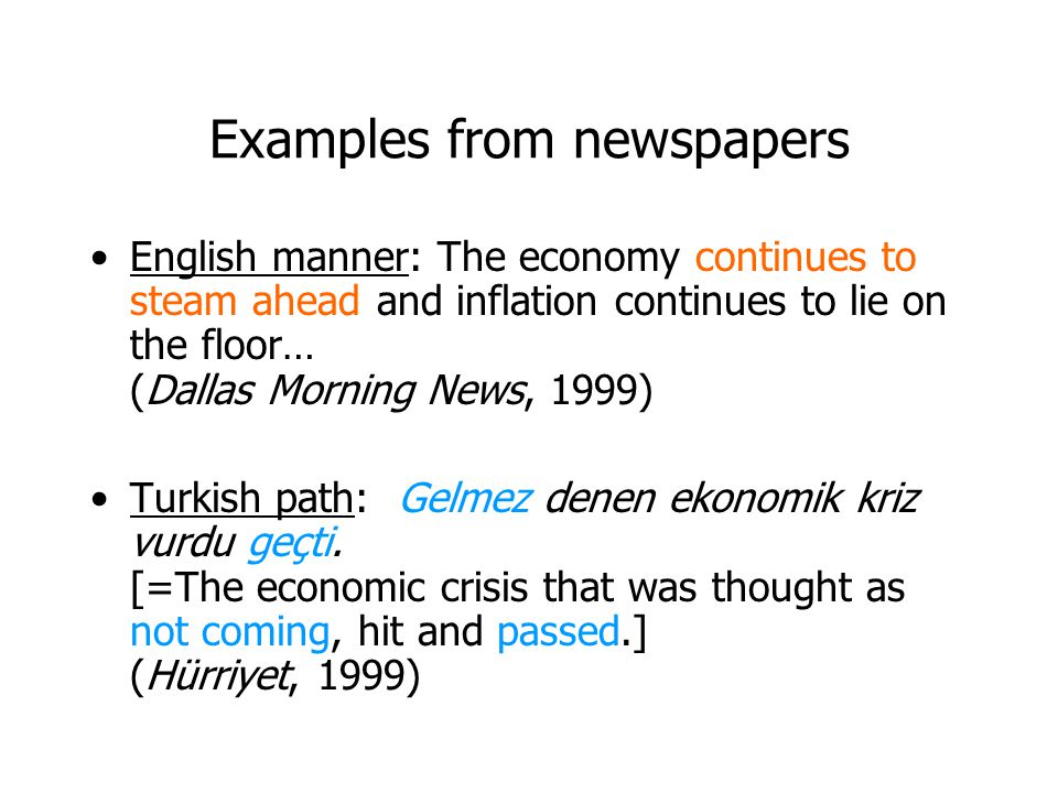 Examples from newspapers