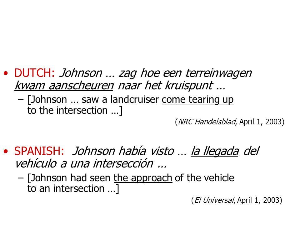 DUTCH: Johnson … zag hoe een terreinwagen kwam aanscheuren naar het kruispunt …