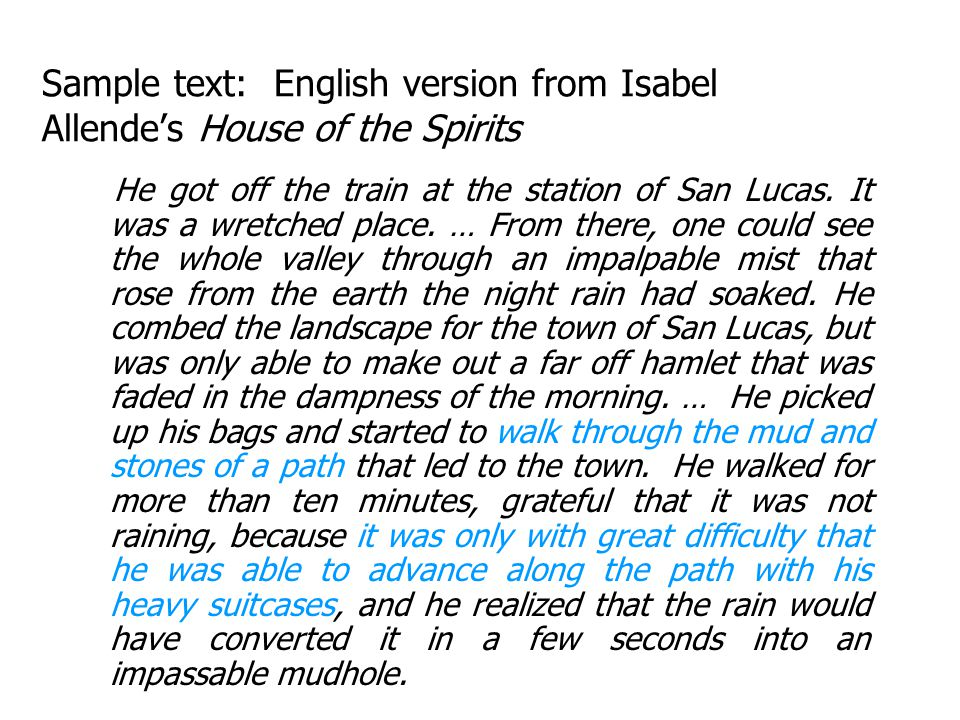 Sample text: English version from Isabel Allende's House of the Spirits