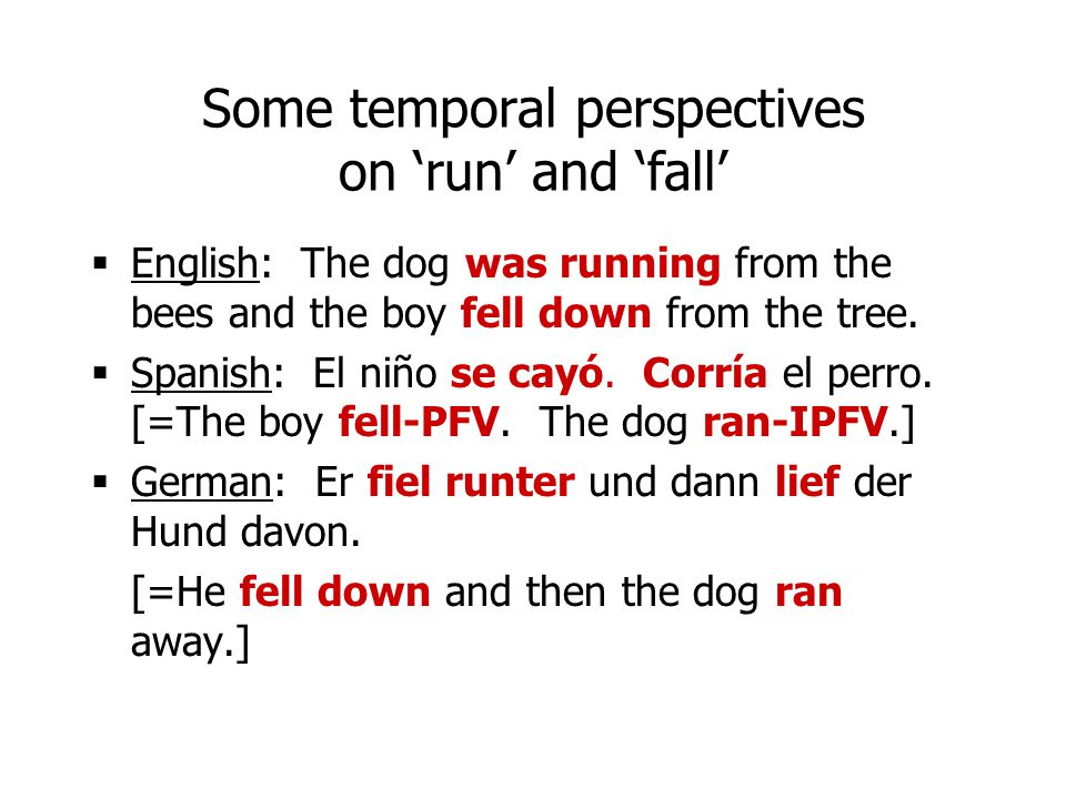 Some temporal perspectives on 'run' and 'fall'
