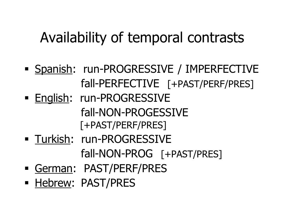 Availability of temporal contrasts