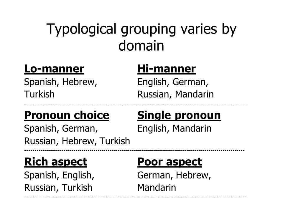 Typological grouping varies by domain