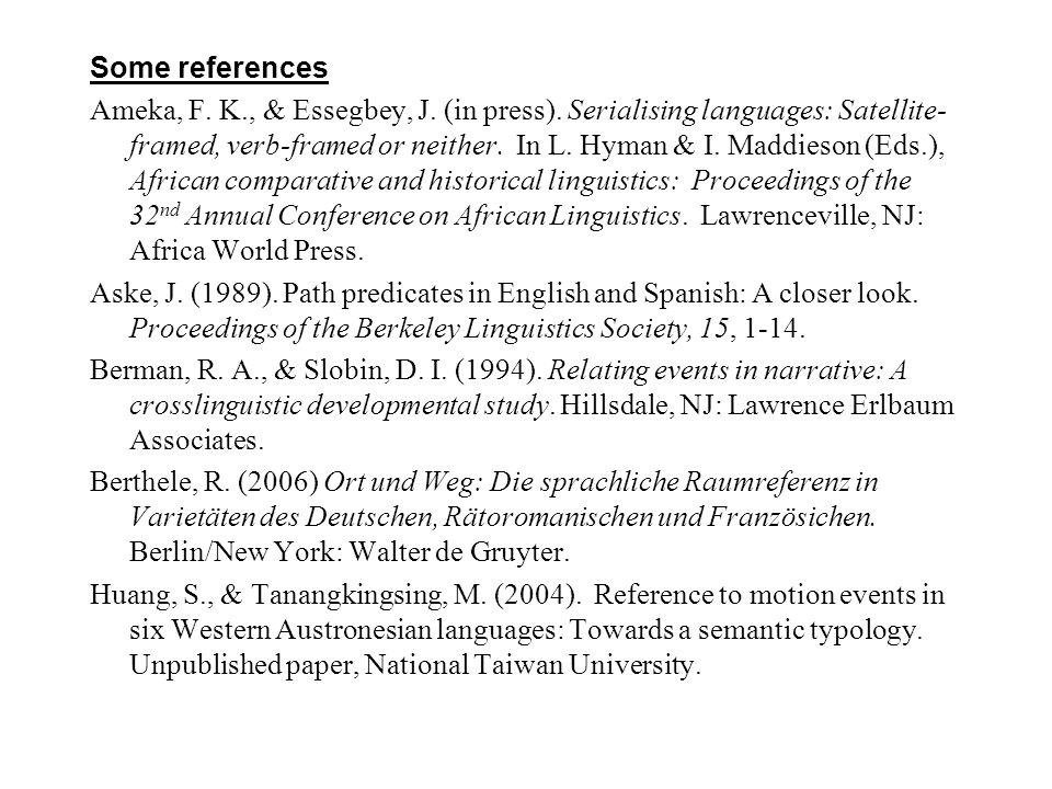 Some references Ameka, F. K. , & Essegbey, J. (in press)
