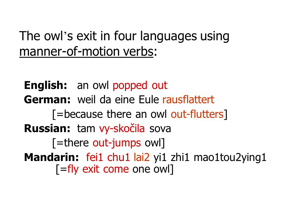 The owl's exit in four languages using manner-of-motion verbs: