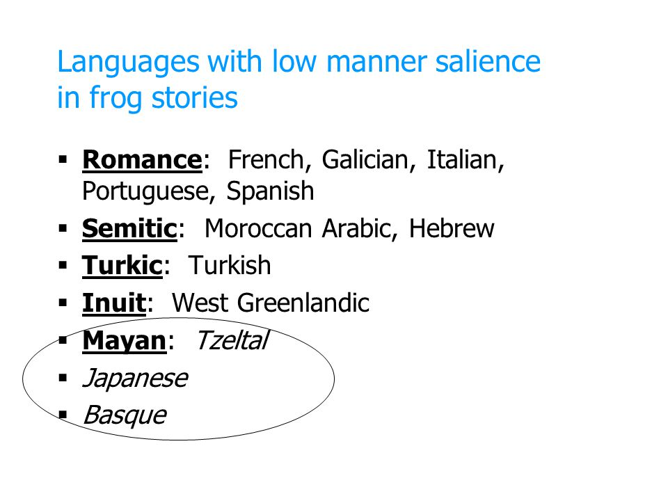 Languages with low manner salience in frog stories