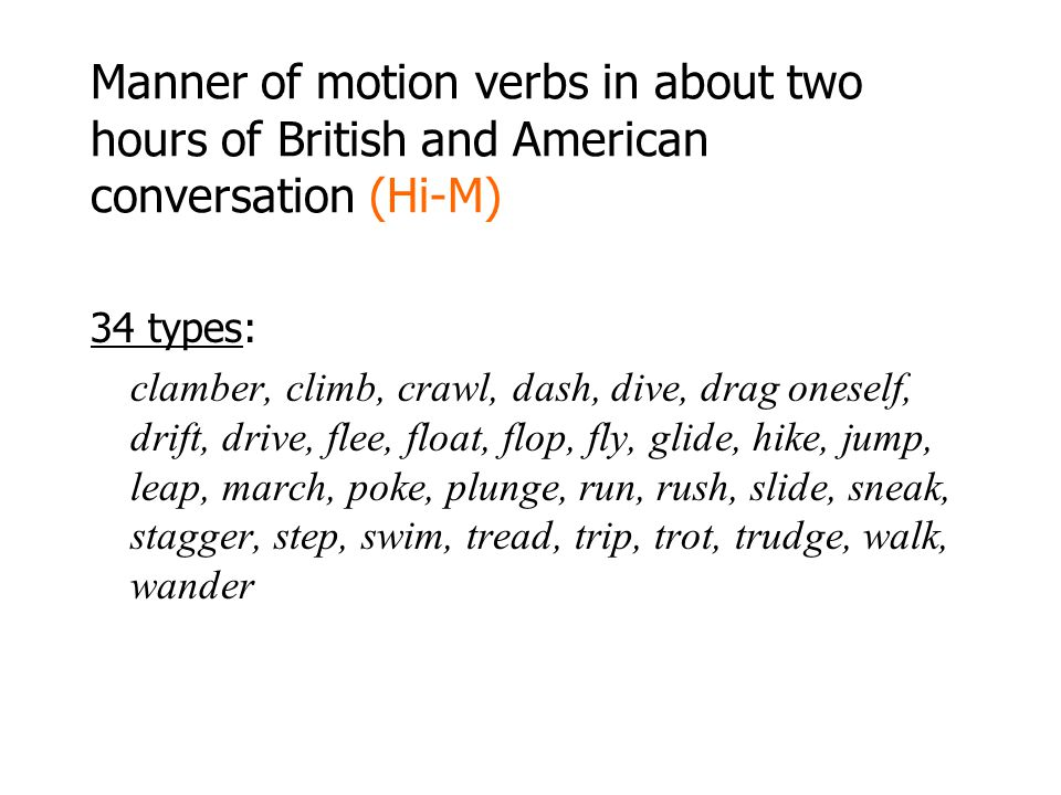 Manner of motion verbs in about two hours of British and American conversation (Hi-M)
