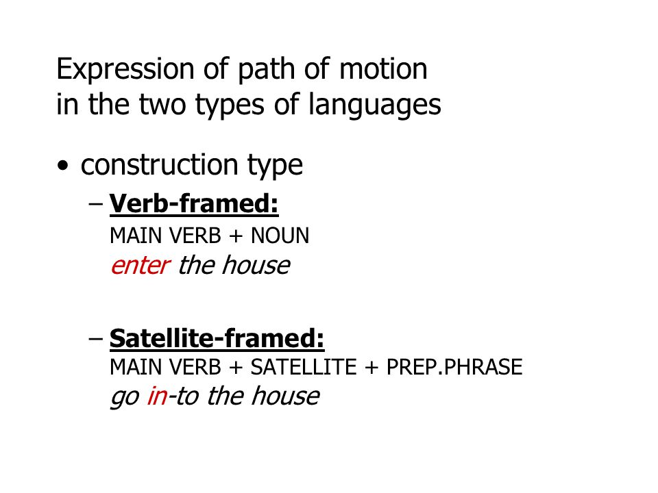 Expression of path of motion in the two types of languages