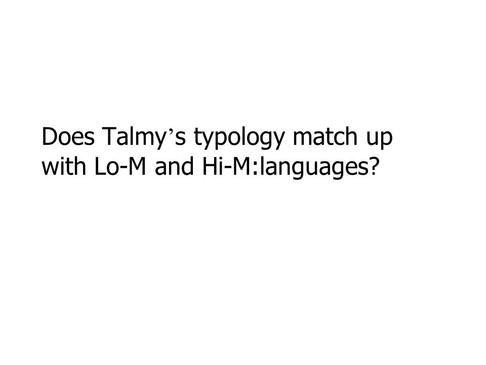 Does Talmy's typology match up with Lo-M and Hi-M:languages