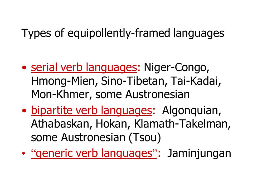 Types of equipollently-framed languages