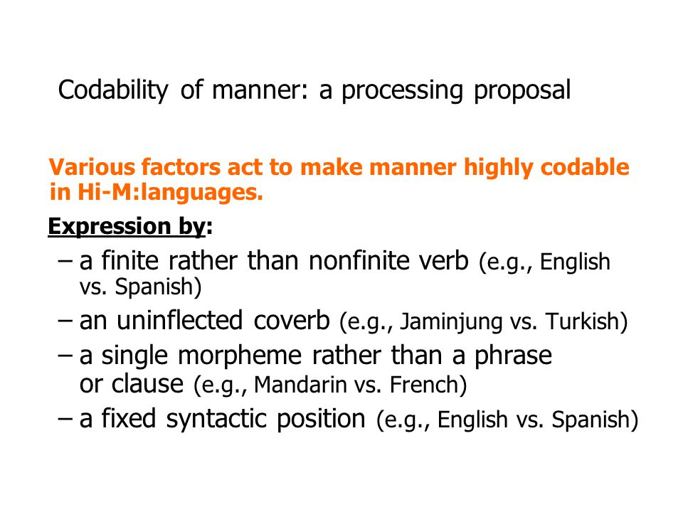Codability of manner: a processing proposal