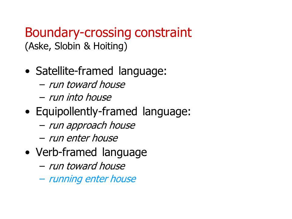 Boundary-crossing constraint (Aske, Slobin & Hoiting)
