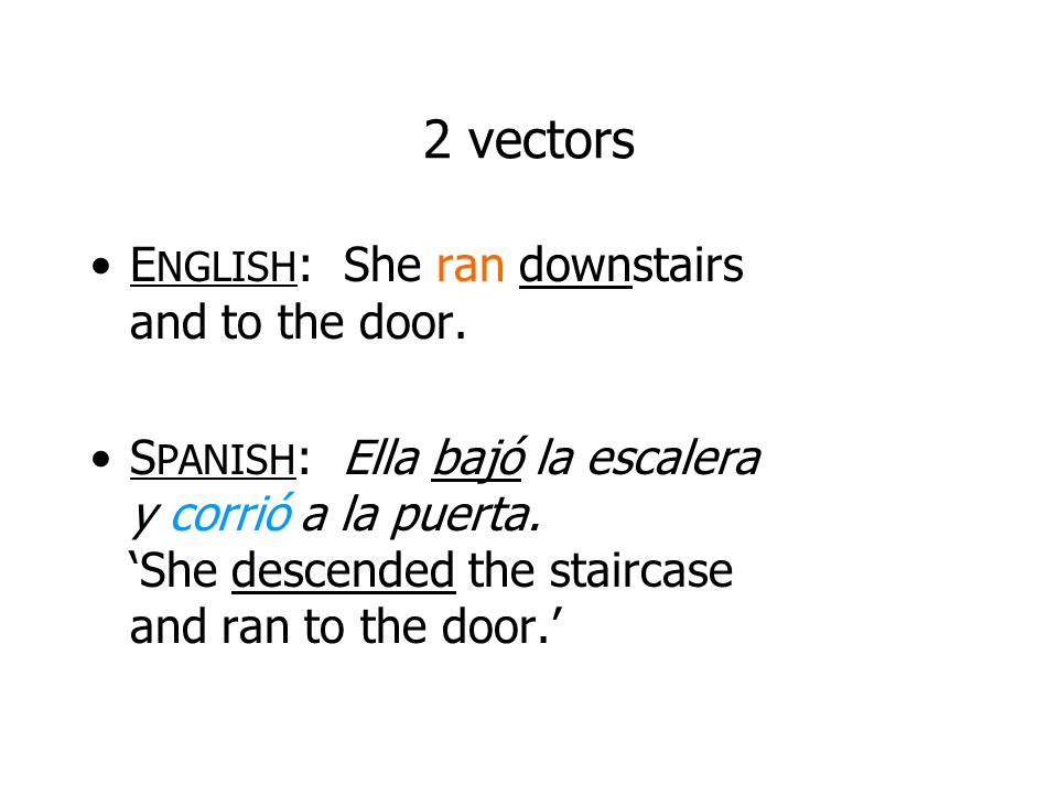 2 vectors ENGLISH: She ran downstairs and to the door.