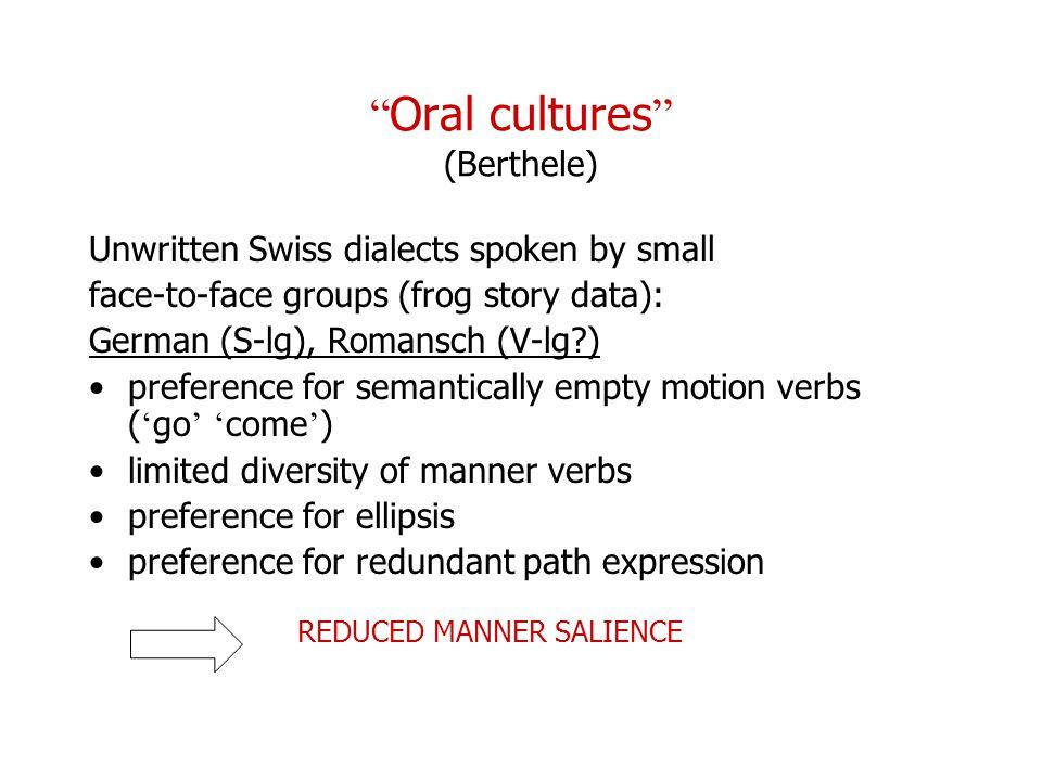 Oral cultures (Berthele)