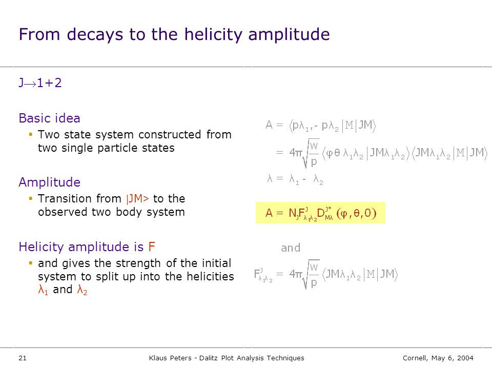 From decays to the helicity amplitude