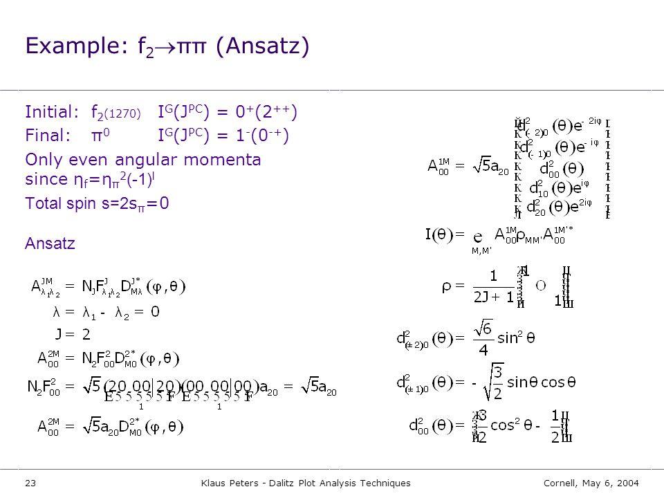 Example: f2®ππ (Ansatz)