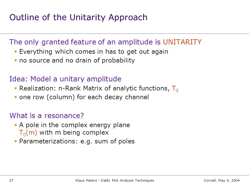 Outline of the Unitarity Approach