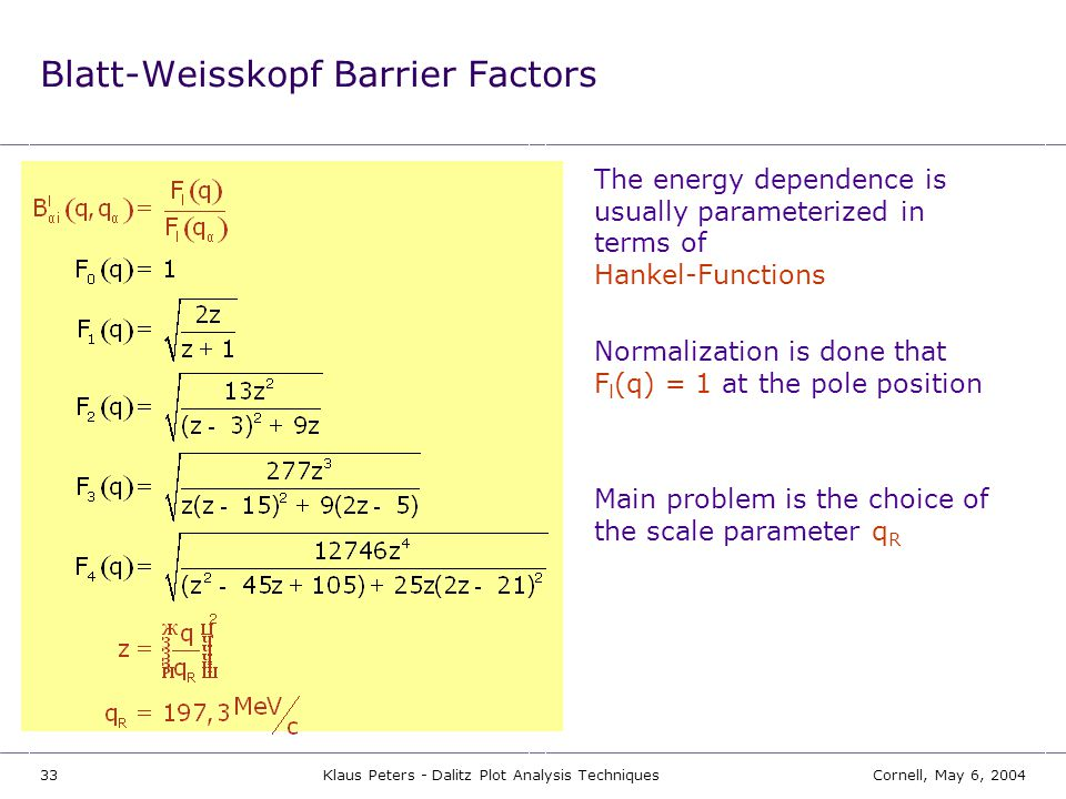 Blatt-Weisskopf Barrier Factors