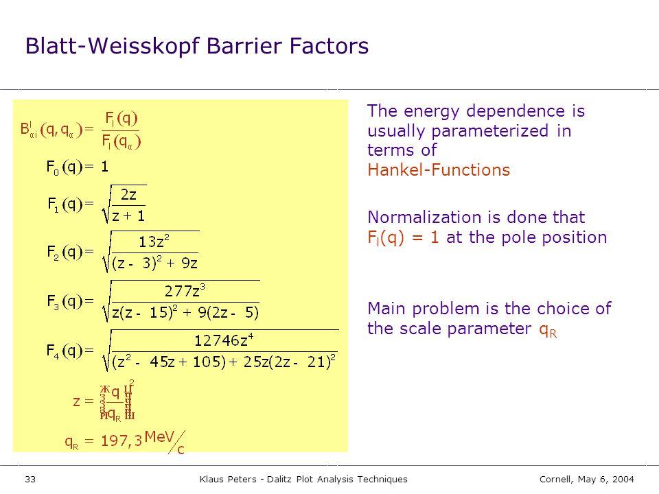 Blatt-Weisskopf Barrier Factors