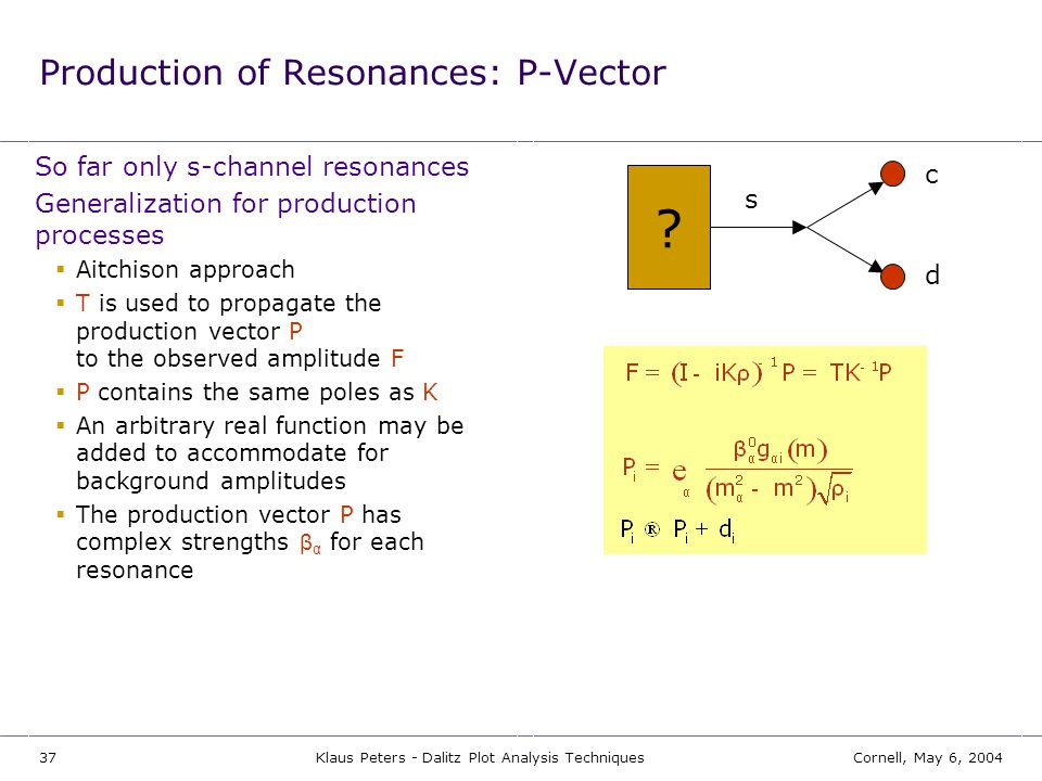 Production of Resonances: P-Vector