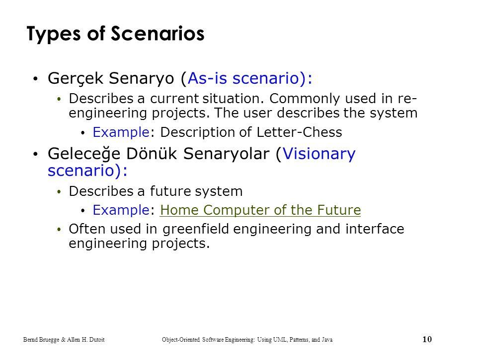 Types of Scenarios Gerçek Senaryo (As-is scenario):