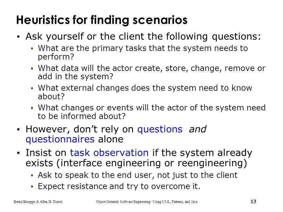 Heuristics for finding scenarios