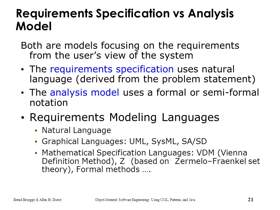 Requirements Specification vs Analysis Model