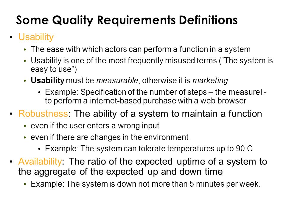Some Quality Requirements Definitions