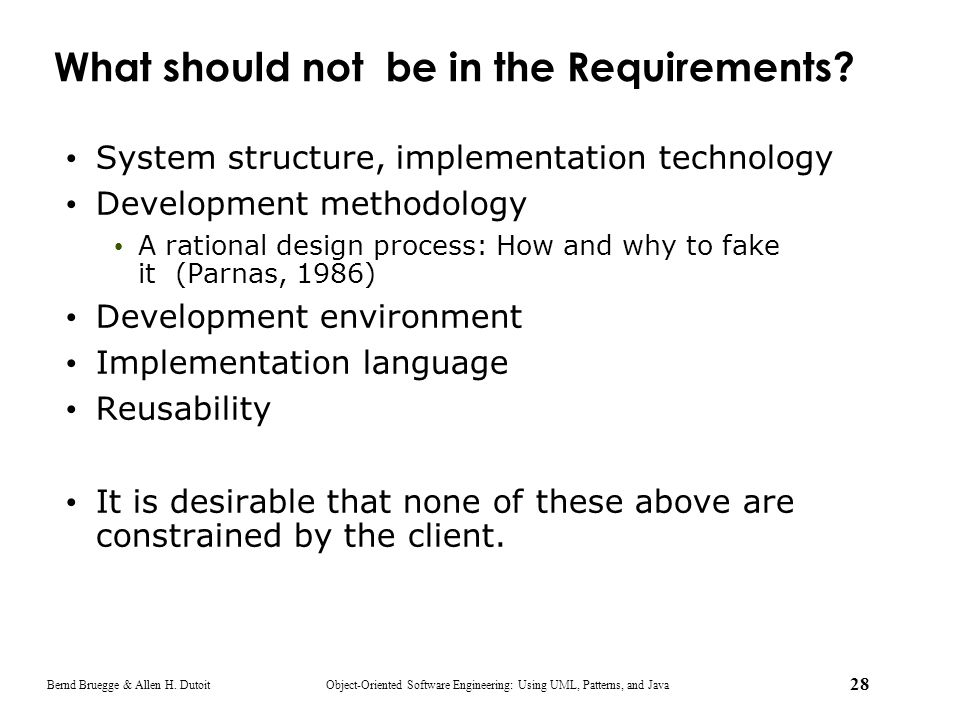 What should not be in the Requirements
