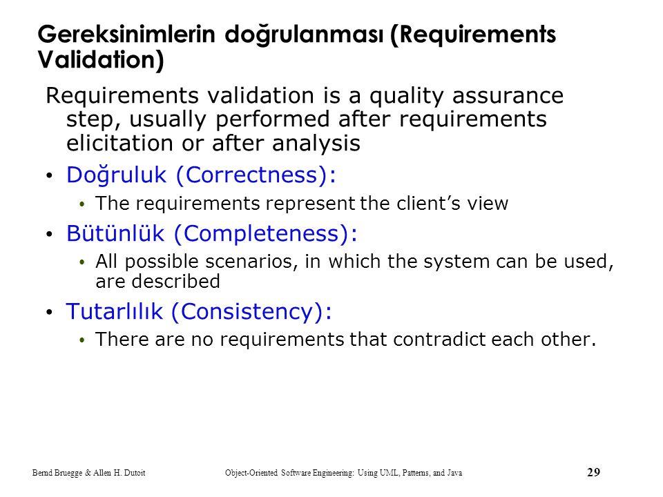 Gereksinimlerin doğrulanması (Requirements Validation)