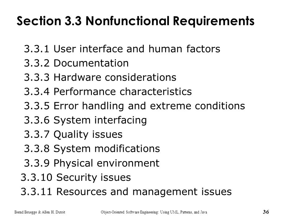 Section 3.3 Nonfunctional Requirements