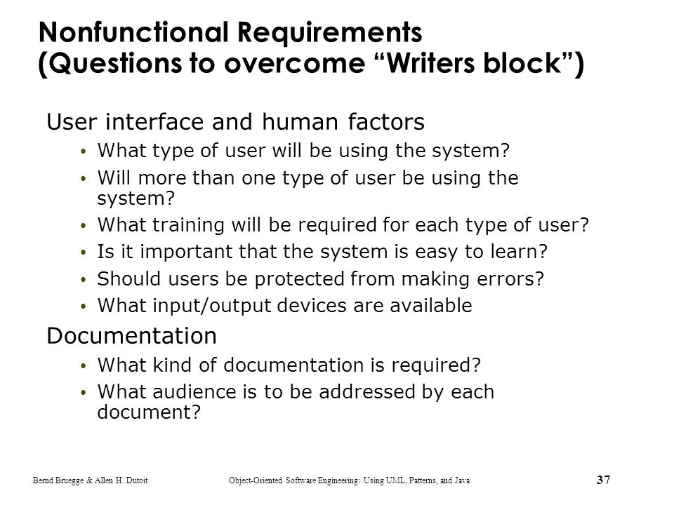 Nonfunctional Requirements (Questions to overcome Writers block )