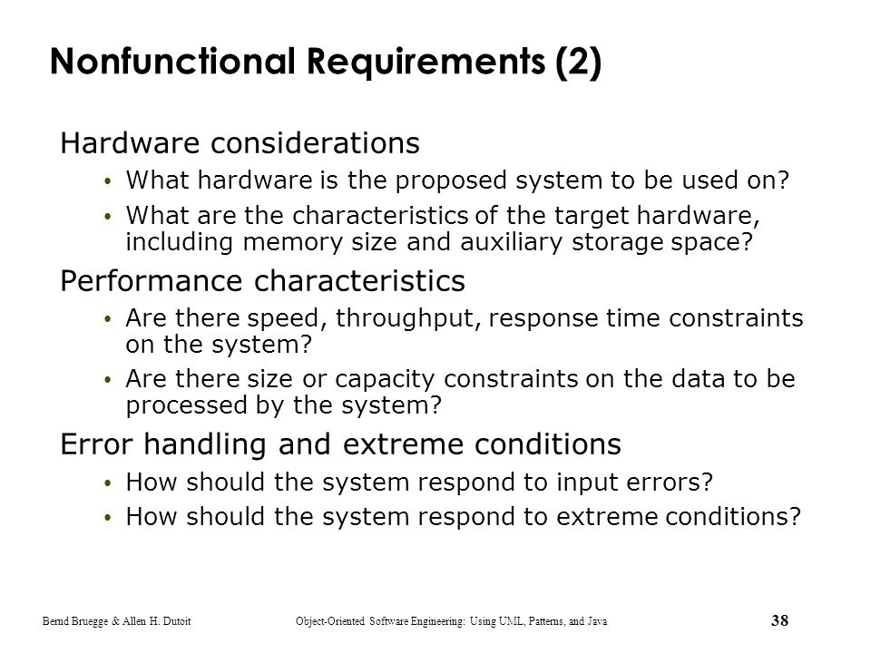Nonfunctional Requirements (2)