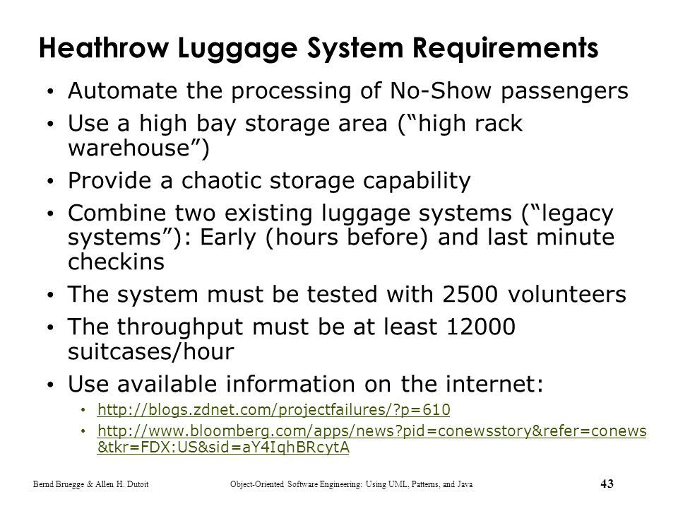 Heathrow Luggage System Requirements