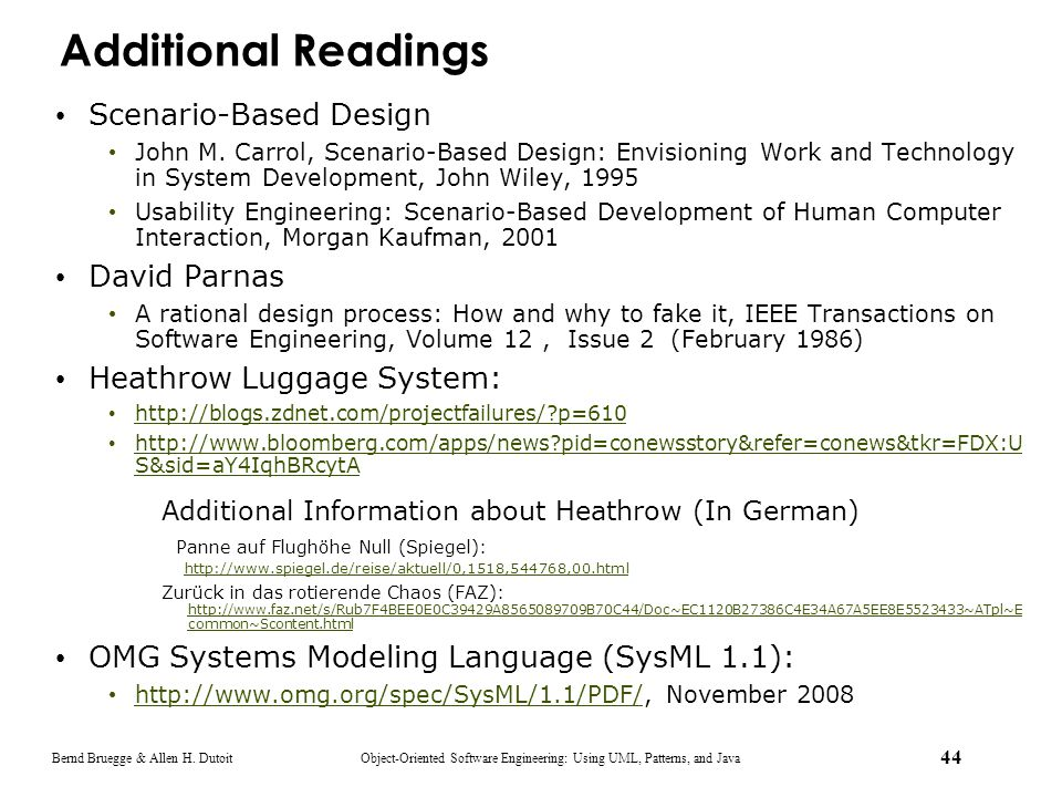 Additional Readings Scenario-Based Design David Parnas